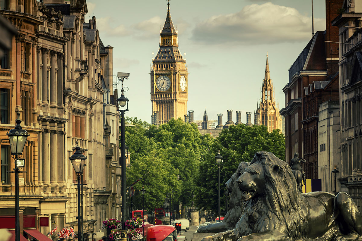 City of London with Big Ben and Whitehall