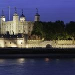 Tower of London illuminated over River Thames